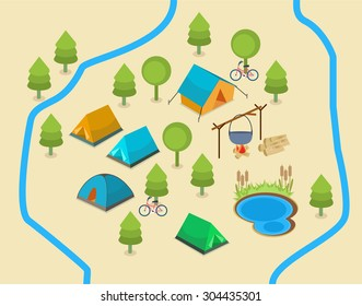 A map of a campsite. An isometric map showing a campsite with two rivers and a lake