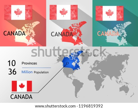 Map Of Canada Eps.Map Canada Background Earth Map Populationprovince On Stock Vector