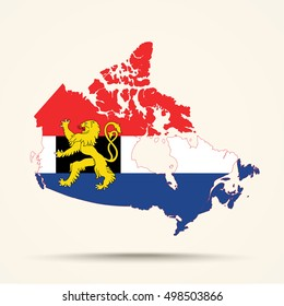 Map of Canada in Benelux flag colors