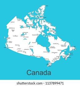 Map of Canada with cities on a blue background, vector illustration.