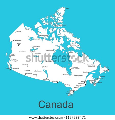 Map Of Canada With Cities.Map Canada Cities On Blue Background Stock Vector Royalty Free