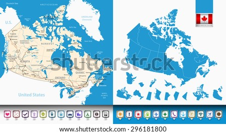 Map Of Canada Territories.Map Canada Countoursprovinces Territories Pin Navigation Stock