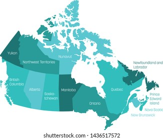 Map of Canada divided into 10 provinces and 3 territories. Administrative regions of Canada with labels. Vector illustration.