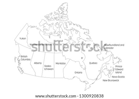 Outline Map Of Canada With Provinces.Map Canada Divided Into 10 Provinces Stock Vector Royalty Free