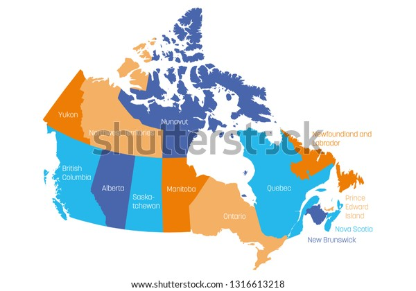 Free Map Of Canada.Map Canada Divided Into 10 Provinces Stock Vector Royalty Free