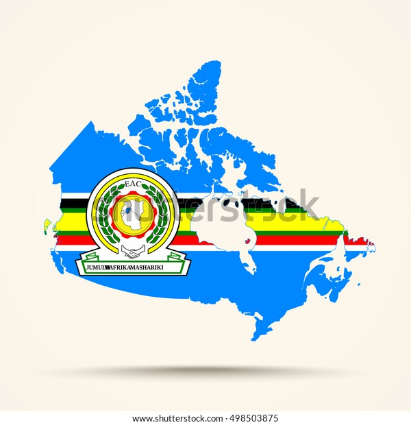 Map Of Canada East.Map Canada East African Community Flag Stock Vector Royalty Free