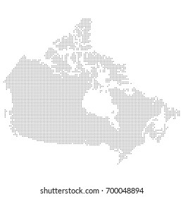 Map of Canada made from gray dots. Vector eps 10.
