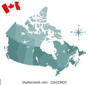 Map of Canada, regions and provinces