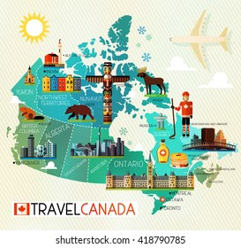 Map of Canada and Travel Icons. Canada Travel Map. Vector Illustration.