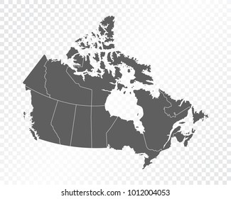 Map of Canada, vector illustration on transparent background. Items are placed on separate layers and editable.