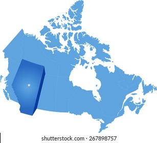 Map of Canada where Alberta province is pulled out