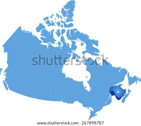 Map Of Canada New Brunswick.Map Canada Where New Brunswick Province Stock Vector Royalty Free