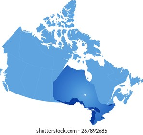 Map of Canada where Ontario province is pulled out