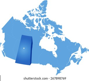 Map of Canada where Saskatchewan province is pulled out