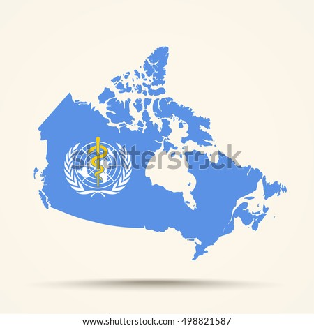Map Of Canada In World Health Organization WHO Flag Colors