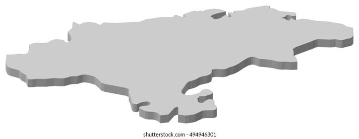 Map - Cantabria (Spain) - 3D-Illustration