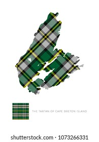 map of cape breton island in canada filled with pattern of regional tartan and fragment of it on white background