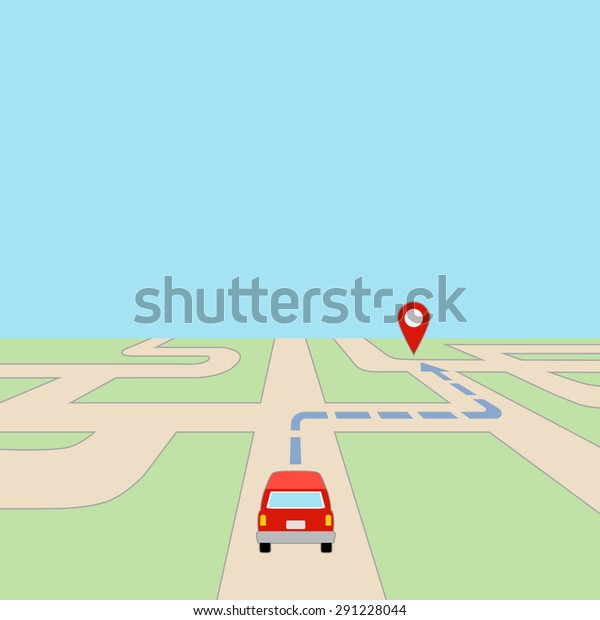 Map Car Gps Route On Road Stock Vector (Royalty Free) 291228044