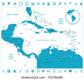 Map of the Caribbean and navigation icons