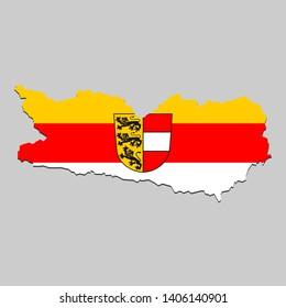 Map of Carinthia is a state Austria with flag. Vector Illustration