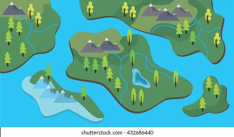 map cartoon flat style with land and sea river vector graphic illustration