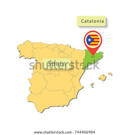 Map Catalonia Spain Map Pointer Flag Stock Vector Royalty Free