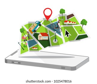 Map with Cellphone. GPS Application Symbol. Flat Design Vector City Map Symbol.