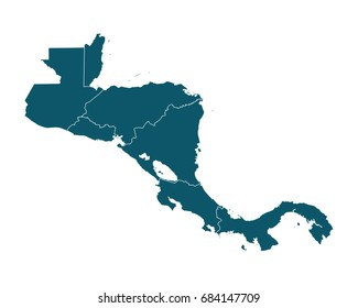 Map of Central America - High detailed on white background. Abstract design vector illustration eps 10.