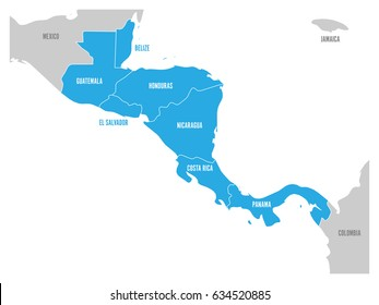 Map of Central America region with blue highlighted central american states. Country name labels. Simple flat vector illustration.