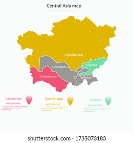 Map of Central Asia divided by state borders. Part of Asian continent with country boundaries. Modern infographic design template. Vector illustration for touristic website, geographic presentation.