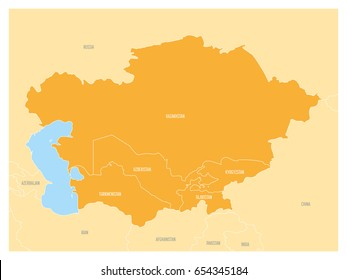 map of central asia region with orange highlighted kazakhstan kyrgyzstan tajikistan turkmenistan and