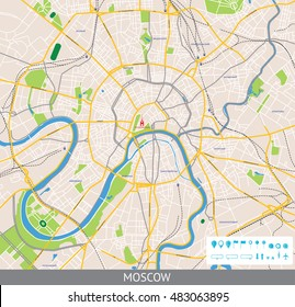 Map of Central Moscow with the Russian names of the main roads and and infographic elements. All objects are located on separate layers.