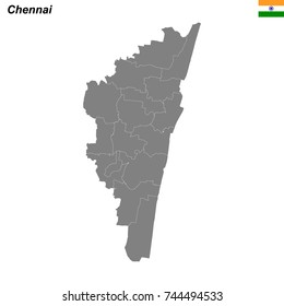map of Chennai city with borders of the districts
