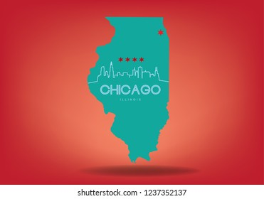 Map of Chicago Illinois, USA Vector EPS 10.