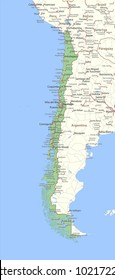 Map of Chile. Shows country borders,  place names and roads. Labels in English where possible.Projection: Spherical Mercator.