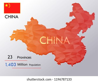 map of China background Earth map,Population,province on Vector illustration eps 10.Triangle flag Vector