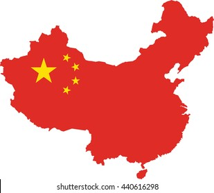 map of china filled with the flag of the state