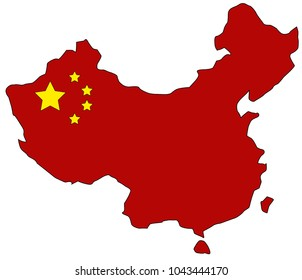 map of China flag color
