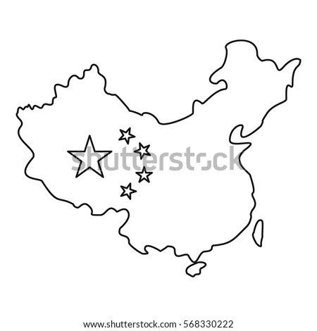 Map China Flag Icon Outline Illustration Stock Vector (Royalty Free ...