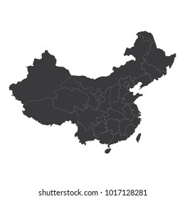 Map of China, China - map, High detailed - black map of China on white background. Vector illustration eps 10.