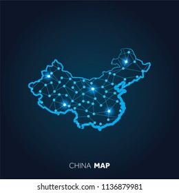 Map of China made with connected lines and glowing dots.