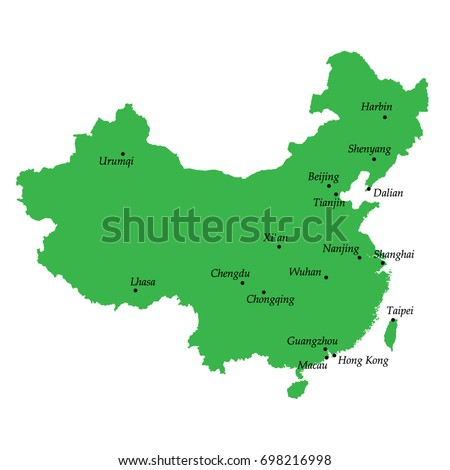 Map China Main Cities Stock Vector Royalty Free 698216998