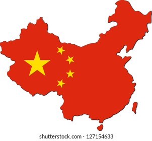 Map of China with national flag isolated on white background
