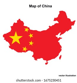 Map of China with regions and cities. Colorful graphic illustration with map of China. Chinese map with regions. Vector.