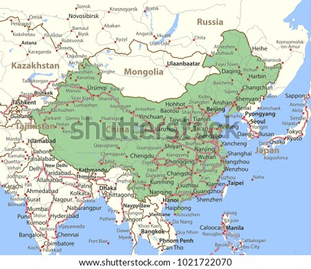Show Map Of China.Map China Shows Country Borders Place Stock Vector Royalty Free
