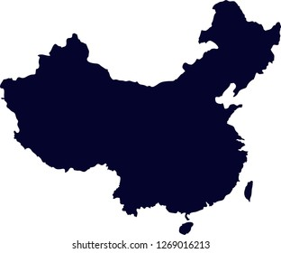 The map of China, simple silhouette