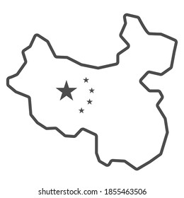 Map of China thin line icon, chinese mid autumn festival concept, country sign on white background, state and its flag icon in outline style for mobile concept and web design. Vector graphics.