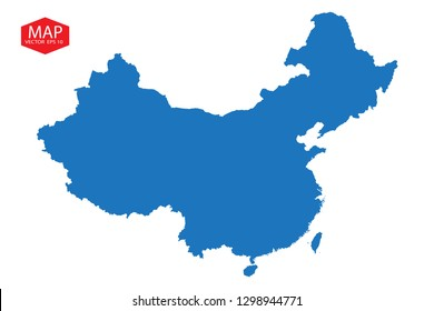 Map of China,Blue map of China, isolated on white background with clipping path, High detailed blue vector map - China. - Vector