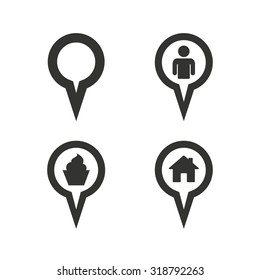 Map circle pointer icons. Home, food and user location symbols. Restaurant and cupcake signs. You are here. Flat icons on white. Vector