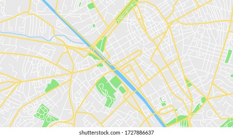 Map of the city center. Vector Illustration.